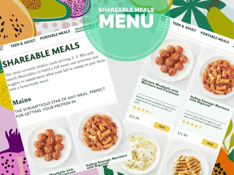shareable meals menu