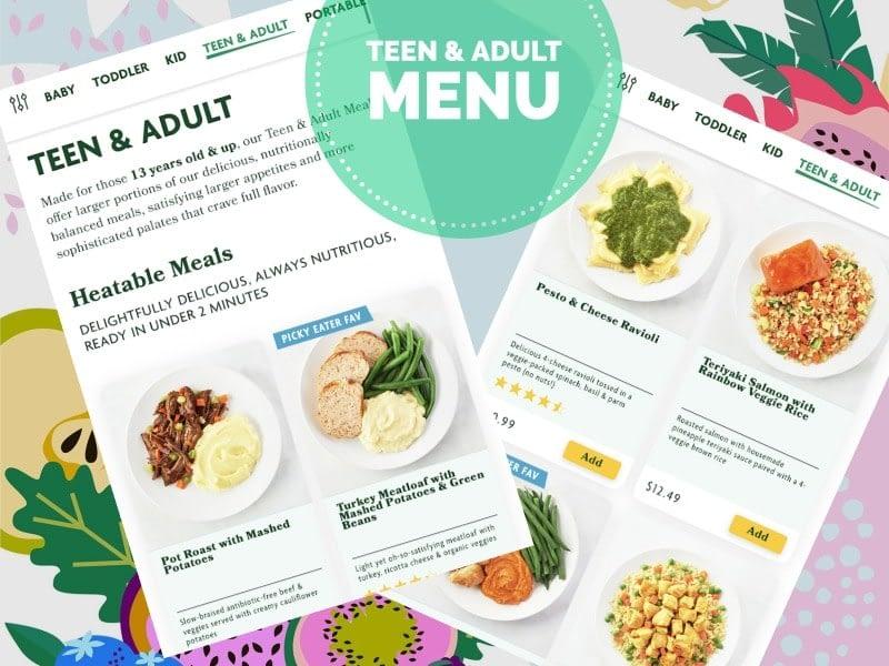 teen and adult menu